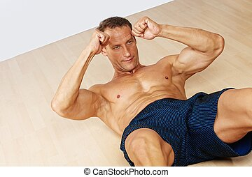 homme, exerice., fitness, musculaire, beau