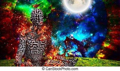 homme, figure, lotus pose, brûlé, modèle, labyrinthe