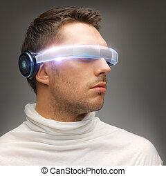 homme, futuriste, lunettes