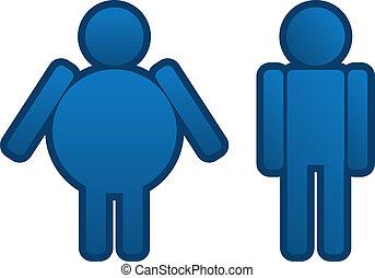 homme, graisse, mince