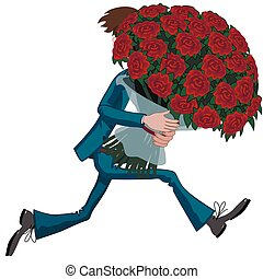 homme, grand, amour, bouquet, roses.