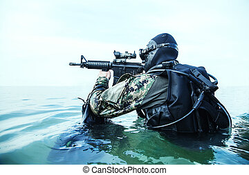homme-grenouille, cachet, marine