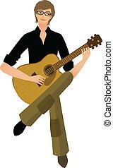 homme, gros plan, tenue, guitare