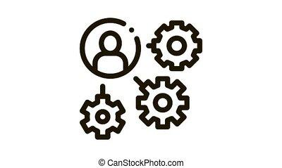 homme, icône, mécanisme, engrenage, animation, silhouette, agile