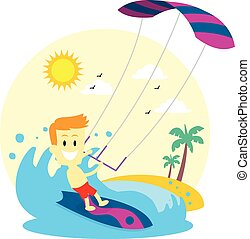 homme, kitesurfing, apprécier