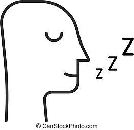 homme, ligne, isolé, dormir, blanc, mince, icône