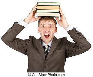 homme, livres, jeune, tenue, pile