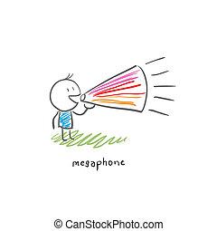 homme, loudhailer., illustration., dessin animé