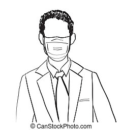 homme, masque, business, avatar