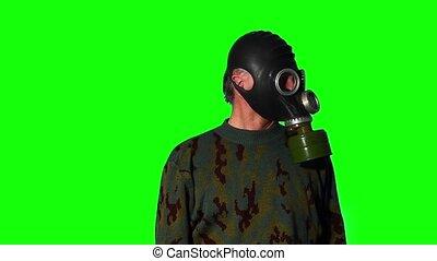 homme masque, vert, écran, essence
