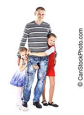homme, mignon, sien, enfants