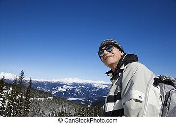 homme, montagnes., skieur