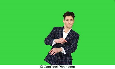 homme, mouvements, hanche, formel, key., plusieurs, chroma, vert, promenades, business, danses, complet, écran, houblon, appareil photo