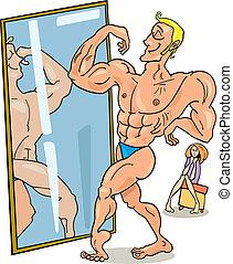 homme, musculaire, miroir