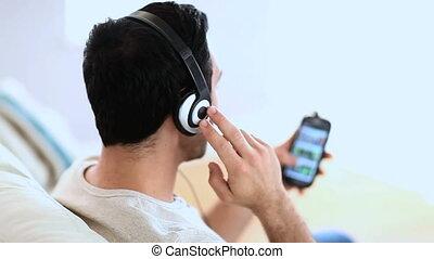 homme, musique écouter, gai