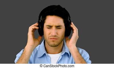 homme, musique écouter, headpho