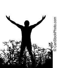 homme, nature, debout, silhouette