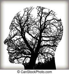 homme, naturel, arbre