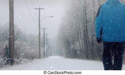 homme, neige, route, promenades