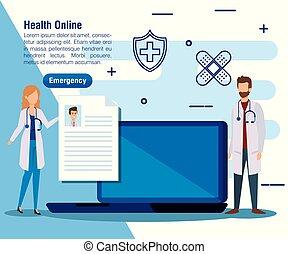 homme, ordinateur portable, femme, service, médecins