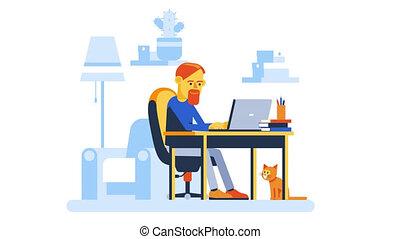 homme, ordinateur portable, fonctionnement, maison, ligne