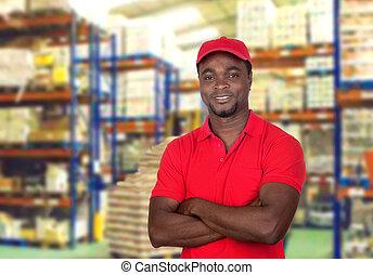 homme, ouvrier, uniforme rouge