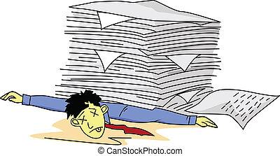 homme, paperasserie, fatigué, sous