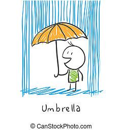 homme, parapluie, pluie, sous