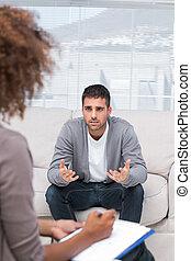 homme parler, thérapeute