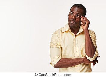 homme, pensée, sur, noir, africaine, quelque chose, évoquer souvenirs, jeune