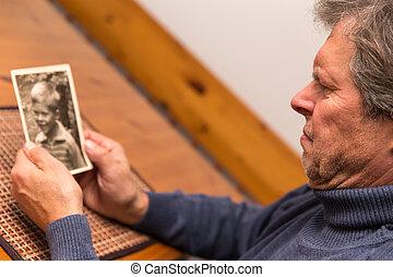 homme photo, vieux, portrait