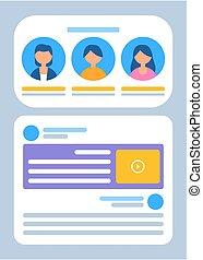 homme, profils, texte, information, femme, site web
