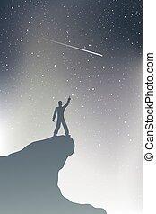 homme, regarder, étoile, tir