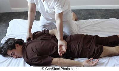 homme relâche, adulte, pendant, jeune, masage