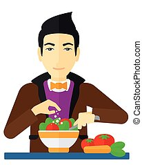 homme, repas., cuisine
