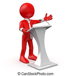 homme, rouges, conférence, parler