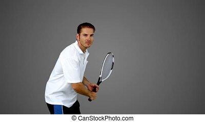 homme, séduisant, tennis, gr, jouer