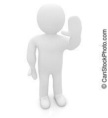 """homme, -, salutation, émotions, isolé, series:, white., humain, """"hi"""", 3d"""
