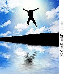 homme, saut, sky.