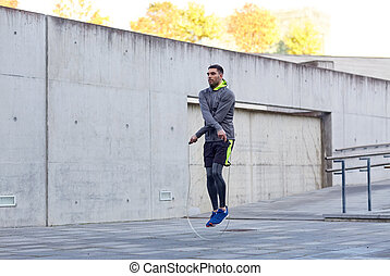 homme, sauter-corde, exercisme, dehors