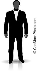 homme, silhouette, complet