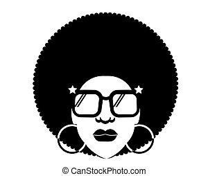 homme, silhouette, vecteur, disco, portrait, noir, retro, femme, lunettes soleil, 70s, hairstyle.