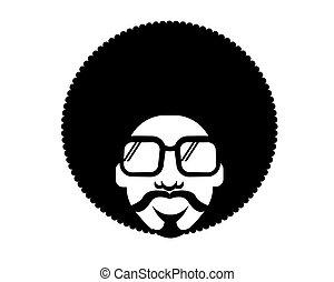 homme, silhouette, vecteur, disco, portrait, noir, retro, lunettes soleil, 70s, hairstyle.