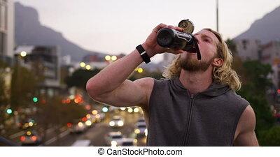 homme, sportif, eau potable, caucasien