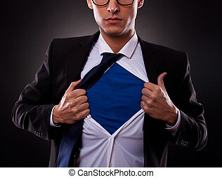 homme, super, tondu, business, vue