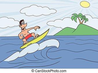 homme, surfer, vocation