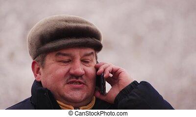 homme, téléphone, business, figure, conversation, heureux, sourire.