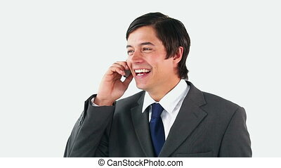 homme, téléphone, conversation, heureux