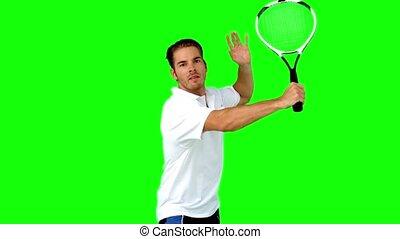 homme, tennis, jouer