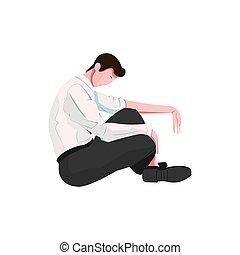 homme, triste, illustration